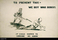 Poster - c. 1940's - WWII - Theme: Purchase War Bonds