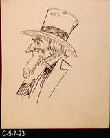 Poster - c. 1940 - Pen and Ink - Bust of Uncle Sam With Hat