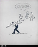 Poster - c. 1940 - Pen and Ink on Cardboard - Cartoon - Supervisor