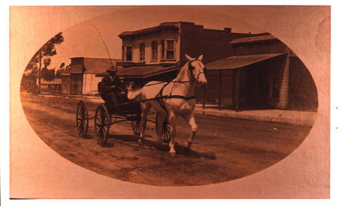 C.D. McNeil in carriage-Eleanor's great grandfather. He is on North Main Street, commercial hotel in background. The livery stable that he owned was across the street from here.