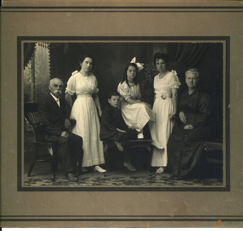 Eli McNeil's Family portrait: Eli McNeil (Cary's brother) Lara McNeil (Smith), Robert McNeil(child), Ellen McNeil (West) Pearl McNeil (Dillon) died soon after marriage, Hattie(Eli's Wife)