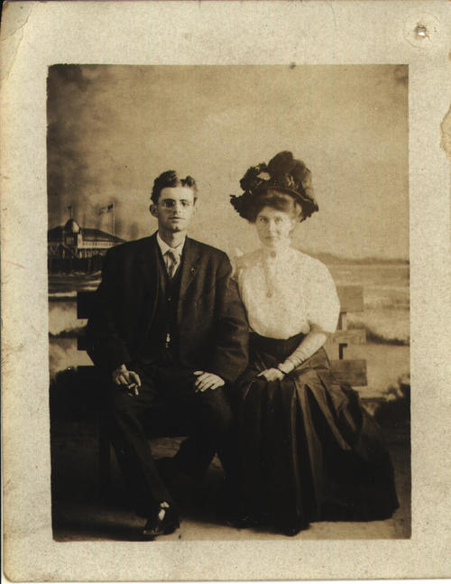 Bride and Groom portrait; Roswell Huff and Grace Huff.