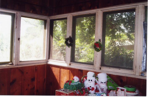The enclosed porch at 1208 Palm, this was once the Bridenstine home.