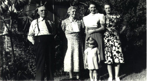 From Left to Right, Cary D. McNeil, his wife Mary McNeil, Daughter-Grace McNeil Huff-far right, Middle right; Grace's daughter Harriet Huff Webster and, and front Harriet's  daughter Eleanor Webster