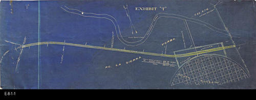 "This undated map titled ""Exhibit ""T"",  shows the top portion os the Grand Blvd. Circle.  The land is indicated to be Rancho LaSierra (Yorba).  The north part of Grand Blvd. and Main Street are the only streets named on this map. - MEASUREMENTS:  12"" x 33 1/2"" - CONDITION:  This map is in blueprint form and is is very good condition. - COPIES:  1 - MAP ORIENTATION: Top is NORTH."