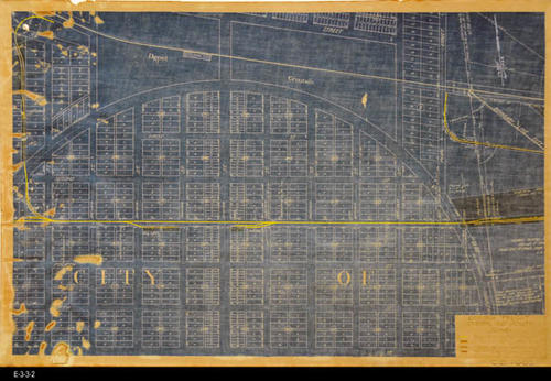 "This undated map shows the Corona Freight Station and Vacinity.  The map legend covers the following:  Pacific Electric Tracks, Property of the Pacific Railway Co., Property of Pacific Electric Land Co., and Property leased by Pacific Railway. Under the legend is the number C. E. 7003.  - MEASUREMENTS:  16"" x 23 3/4"" - CONDITION:  There is extensive foxing on this map. While the map is legibile, the map Legend is very faint. This map is kept in a protective sleeve. - COPIES:  1 - MAP ORIENTATION: Top is NORTH."