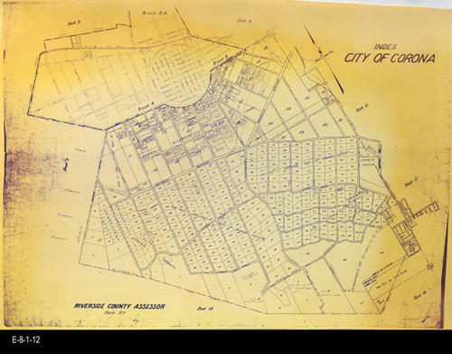 "This undated map is page 8A of the Riverside County Assessor's maps showing Corona - MEASUREMENTS:  11"" x 17"" - CONDITION:  Good. - COPIES:  1 - MAP ORIENTATION: Top is NORTH."