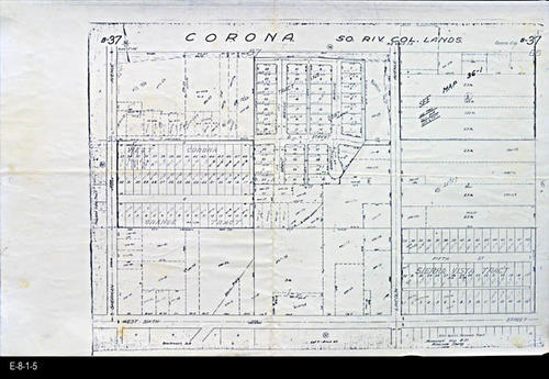 "This undated map is page B-37 of the Riverside County Assessor's maps showing Corona - So. Riv. Col. Lands.  The bounding streets are:  Sherman Ave., W. 6th Street, and Lincoln Ave. - MEASUREMENTS:  11"" x 17"" - CONDITION:  Good.  This map is in a Mylar Sleeve. - COPIES:  1 - MAP ORIENTATION: Top is NORTH."
