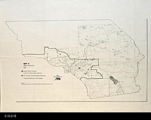 "This undated map shows the mineral sources located in the approximate location of Riverside, San Bernardino, and Imperial Counties. SCAG (Southern California Association of Governments was founded in 1965 and represents six counties and some 189 cities.)- MEASUREMENTS:  22"" x 29"" - CONDITION:  Good- COPIES:  1 - MAP ORIENTATION: Top is NORTH."