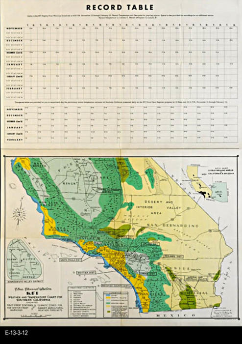 "This map is published by Earl C. Anthony, Inc.  Earl C. Anthony, Inc. operated radio station KFI in Los Angeles and provided weather information to the citrus growers from 1924 to 1956.  MEASUREMENTS:  23 1/2"" x 17 3/4"" - CONDITION:  Very good.  - COPIES:  1 - MAP ORIENTATION: Top is North."
