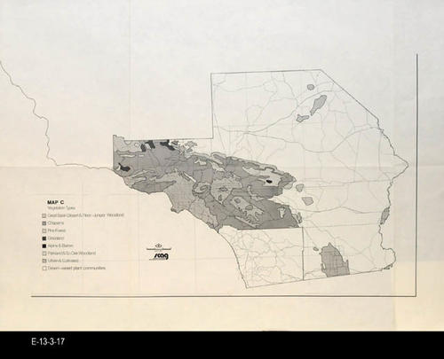 "This undated map shows the vegetation types located in the approximate location of Riverside, San Bernardino, and Imperial Counties. SCAG (Southern California Association of Governments was founded in 1965 and represents six counties and some 189 cities.)- MEASUREMENTS:  22"" x 29"" - CONDITION:  Good- COPIES:  1 - MAP ORIENTATION: Top is NORTH."