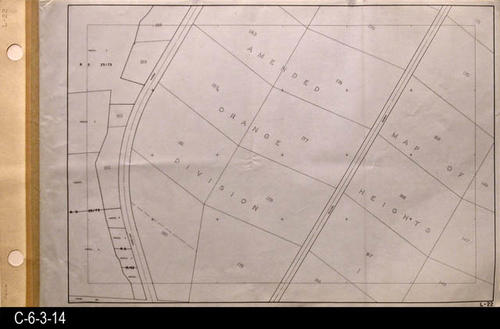 "This oil skin map is undated.  There are three major streets shown on this map:  Garretson Ave., Kellogg Ave., and Chase Dr.  - MEASUREMENTS:  24"" X 39"" - CONDITION:  Excellent - COPIES:  1 - MAP ORIENTATION:  Top is NORTH.  Thomas Guide References:  2007, p. 773, D1, E1."