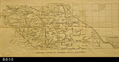 "This undated map shows the western portion of Riverside County located in California.   - MEASUREMENTS:  10 7/8"" x 21 7/8"" - CONDITION:  The legibility of this map is excellent.  There are some small tears on the fold lines.   - COPIES:  1 - MAP ORIENTATION: Top is NORTH."