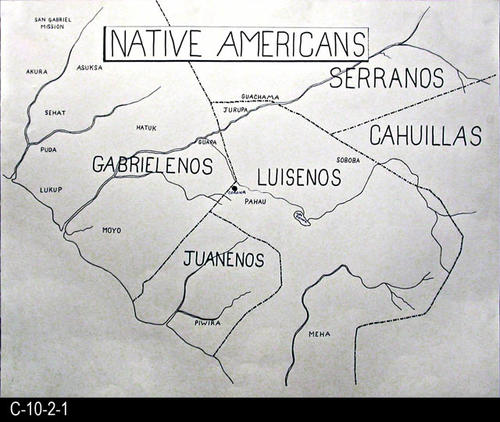 "This is a hand drawn map showing Native American tribes.  The map is drawn on white poster board with a black marking pen.  MEASUREMENTS:  22"" X 28"" - CONDITION:  Very good - COPIES:  1."