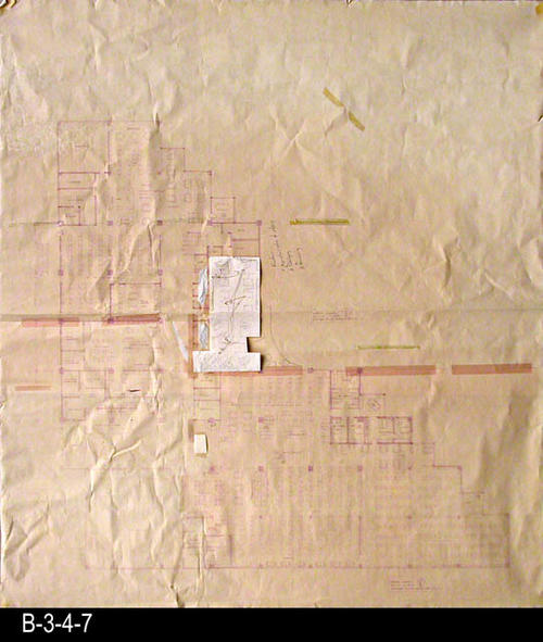 "This blueprint is a concept plan for the current library facility that opened in June 1993. The white section in the middle of the map shows some of the considered modifications.  Two large map sections have been taped together to form the base map. MEASUREMENTS:  46 1/4"" x 41 3/4"" - CONDITION:  Good.  All parts of this map are fully legible.  - COPIES:  1."