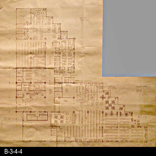 "This blueprint is a concept plan for the current library facility that opened in June 1993.   This blueprint was constructed by taping various blueprint parts together.  MEASUREMENTS:  41"" x 38"" - CONDITION:  Very Good, but tape can be seen at various places on the map.  - COPIES:  1."