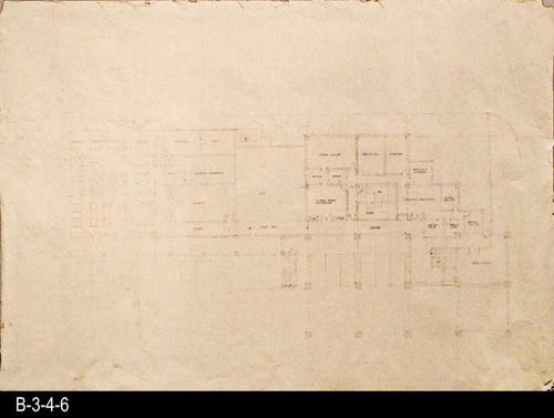 "This blueprint is a concept plan for the current library facility that opened in June 1993. This map is the same as B-3-4-5, but does not have any added map sections.  It would be from a copy of this map that B-3-4-5 was constructed.  MEASUREMENTS:  30"" x 42"" - CONDITION:  This map is legible buy faint, especially on the left hand side - COPIES:  1."