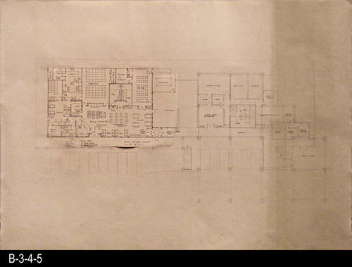 "This blueprint is a concept plan for the current library facility that opened in June 1993.   This blueprint was constructed by taping various blueprint parts together.  The section on the left hand side of the blueprint makes reference to the Corona Heritage Library. The base map for this concept map is SOURCE:  B-3-4-6.  MEASUREMENTS: 30"" x 42"" - CONDITION:  Very Good, but tape can be seen at various places on the map. On the right side of the map there is a darkened area forming a 9"" stripe down the map. - COPIES:  1."