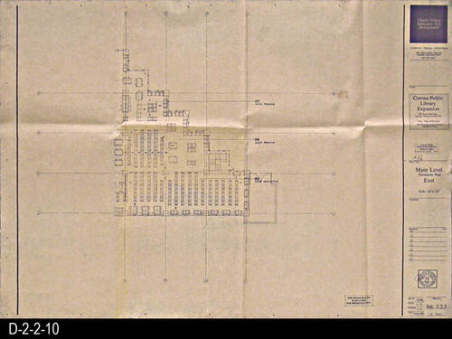 "This blueprint is for the Main Level, Furniture Plan, East . The scale is 1/8"" = 1'.  MEASUREMENTS: 30"" X  42"" - CONDITION:   Very Good - Normal wear and tear.  A small peiece of clear tape is present on the right side about 12"" from the top and right margin. - COPIES:  1.."