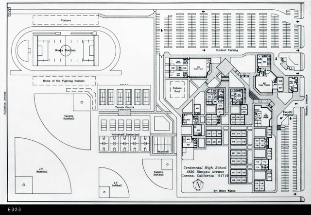 Blueprint architectural drawing c 1989 centennial high blueprint architectural drawing c 1989 centennial high school malvernweather Image collections