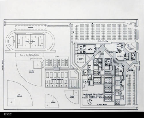 "The architectural rendering is a black line drawing on a translucent vellum type paper.  This drawing is identical to the Emergency Evacuation Plan map. - MEASUREMENTS:  17"" X 22"" - CONDITION: Very Good - COPIES:  1."