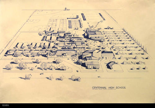 "The architectural rendering shows the Centennial High Campus in a 3D drawing and is printed as a blueprint.  Simply an enlarged copy of E-3-2-4. - MEASUREMENTS:  24"" X 36"" - CONDITION: Good - COPIES:  1."