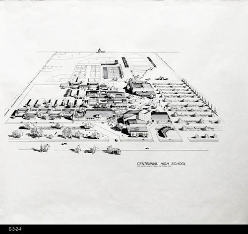"The architectural rendering shows the Centennial High Campus in a 3D drawing - MEASUREMENTS:  24"" X 26 1/2"" - CONDITION: Good - COPIES:  1."