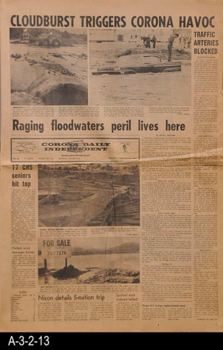 "This covers a cloudburst that caused a ragin flood and put lives in peril in Corona.  International, national, state and other local news is given.  MEASUREMENTS:  22 3/4"" X 15 1/4"", PAGES:  10, CONDITION:  Creased and paper discoloration."
