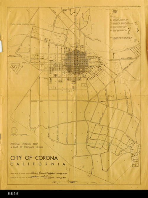 "NEWSPAPER: The Corona Daily Independent - This newspaper page features the new Zoning Plan Map for the City of Corona as part of ordinance 688. The back of the map page features news and comics.  Both sides on the second page features the details or Ordinance 688.  - MEASUREMENTS:  22"" x 17 1/2""  - CONDITION:  The paper is turning brown. - PAGES:  2, one single sheet. - COPIES: 1"