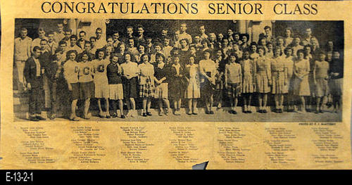 "NEWSPAPER: The Corona Independent  - This is a picture from the newspaper having the photo and names of the members of the graduating class of 1946 from Corona Senior High School.  On the reverse side of the picture is a partial listing of the girls names grading from the Class of 1946 from the Junior High.  - MEASUREMENTS:  8 1/2"" x 17""  - CONDITION: Paper is turning brown, but the photo and text are all very legible.  This is in a Mylar sleeve. -  COPIES:  1"
