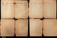 1861 and 1865 - Chicago Daily Tribune  - Double Sided Front Page:  Civil War...