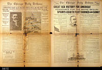 1909, 1898 - Chicago Daily Tribune  - Double Sided Front Page:  Perry Reaches...