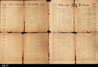 1871 and 1865 - Chicago Daily Tribune  - Double Sided Front Page:  Great Chicago...