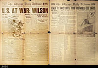 1917, 1912 - Chicago Daily Tribune  - Double Sided Front Page:  U. S. At War:...