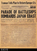 1945 - Truman Tells Plan to Return Europe GIs - Parade of Battleships Bombards...