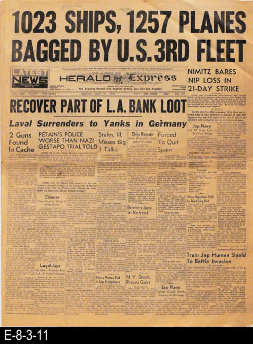 "This newspaper pertains to WWII news, other international, national, state, and local news and advertising.  PAGES:  12, MEASUREMENTS:  21 1/2"" X 16"", CONDITION: There is slight discoloration of the newsprint.  The upper and lower right corners of the newspaper are dog-eared. The newspaper shows normal wear and tear. COPIES:  1."