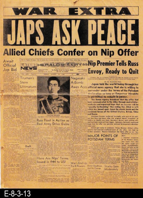 "This newspaper tells of Japan asking for peace.  There is other war news in addition to international, national, state, and local news and advertising.  PAGES:  12, MEASUREMENTS: 21 1/2"" X 16 1/4"", CONDITION:  The newsprint is brittle and there is slight discoloration present.  The left spine shows damage and at the center fold crease there is a portion missing.  The top and bottom edges also reflect wear and tear.  COPIES: 1."