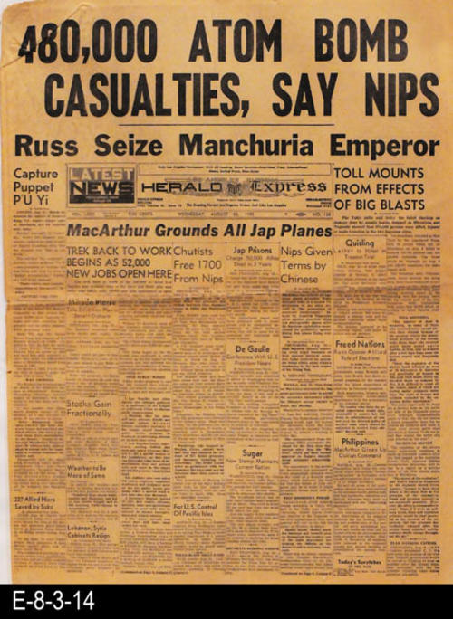 "This newspaper pertains to the events of WWII as well as other international, national, state, and local news and advertising.  PAGES: 8, MEASUREMENTS: 21 1/2"" X 16 1/4"", CONDITION:  The newpaper is brittle with some discoloration of the paper.  There is slight wear and tear present.  COPIES: 1."