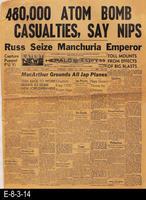 1945 - 480,000 Atom Bomb Casualties, Say Nips - Russ Seize Manchuria Emperor...