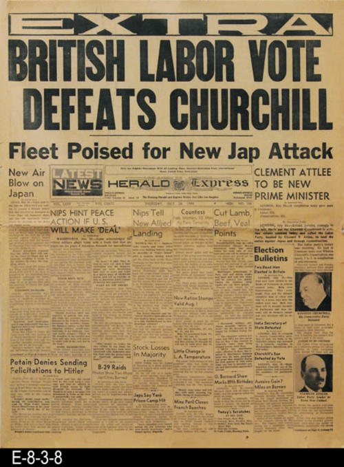 "Lead story is the defeat of Churchill.  The remainder of the news pertains to WWII, international, national, state, and local news and advertising. PAGES:  12, MEASUREMENT: 21 1/4"" X 16"", CONDITION:  The newsprint is moderately discolored.  Many of the pages show extensive damage to the edges. There are several small perpendicular tears at the center fold line."