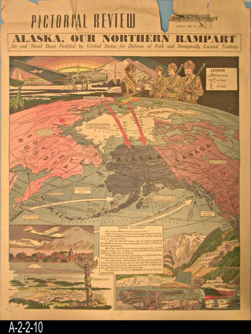 "Los Angeles Examiner - Map and text covering the importance of Alaska to the war effort.  The back side has a map, pictures and information on Hawaii. - PAGES:  1. - MEASUREMENTS: 21 1/2"" X 16 3/4"" - CONDITION:  The top margin area is badly torn.  COPIES:  1."