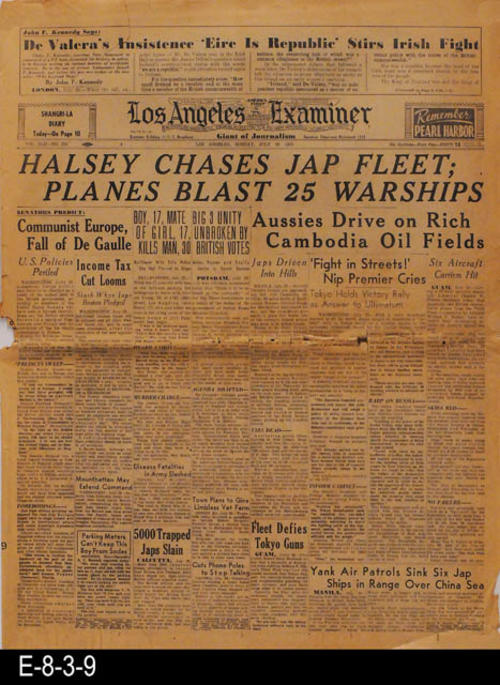 "The lead story pertains to WWII.  The remainder of the news pertains to other international, national, state, and local news and advertising.  PAGES:  20, MEASUREMENTS:  21 1/4"" X 16"", CONDITION:  Only slight discoloration of the newsprint. The front page has a cresed lower right hand corner.  There is damage on the center fold line of the paper. Rather extensive right edge damage to page 5/6.  COPIES:  1."