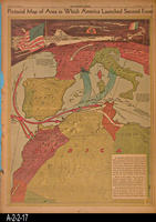 Newspaper - 1942 - Los Angeles Times - Map - Pictorial Map of Area in Which...