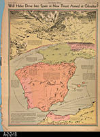Newspaper - 1942 - Los Angeles Times - Map - Will Hitler Drive Into Spain in...