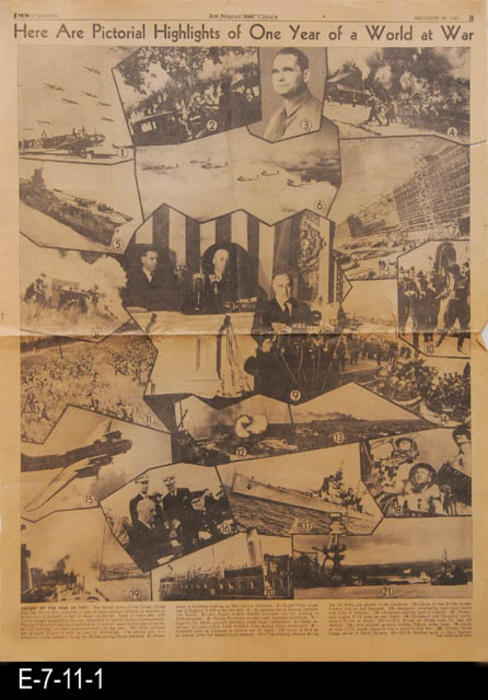 "This is a single page B, covering pictorial highlights of one year of a world at war.  The back side also carries war news as well as local advertising and other non-war related articles.  PAGES:  2, MEASUREMENTS:  22 1/2"" X 16 3/4"", CONDITION:  The newsprint is browning in addition to small tears along the edges. One large tear at the middle crease line near the right edge."