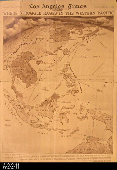 "Los Angeles Times - Cover: Map of the war effort in the Western Pacific.  Pages 2-4 have assorted photos relating to the war and those at home supporting the effort.  There are also a few product ads.  - PAGES: 4 - MEASUREMENTS:  22"" X 15 1/2"" - CONDITION:  There is a tear on the horizontal fold line.  Places in the margin areas are frayed.  COPIES:  1."