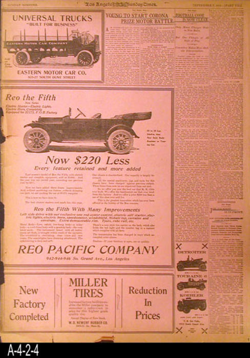 "Los Angeles Times - The two pages are original Pink, Sports Pages from the Times.  There is information on Corona Road Racing as well as other sports news and advertising.  - MEASUREMENTS:  22"" X 16"" - CONDITION: The pages have retained their pink color and with the exception of frayed edges are in good condition. -  COPIES:  1."