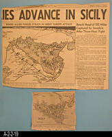Newspaper - 1943 - Los Angeles Times - Map - Allies Advance in Sicily