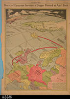 Newspaper - 1942 - Los Angeles Times - Map - Threat of European Invasion a Dagger...