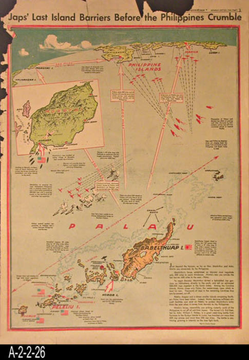 "Los Angeles Times - This entry consists of a map showing the last island barriers for the Japanese before the Philippines would crumble.  In the lower right hand corner is a five paragraph article relating to the map. The reverse side has articles pertaining to the war effort and a few local ads and some news.   - PAGES: 1 - MEASUREMENTS:  23"" x 16 1/2"" - CONDITION:  There is extensive damage to the top and left margin areas.  - COPIES:  1."